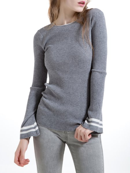 Gray Wool Blend Simple Long Sleeve Knitted Sweater