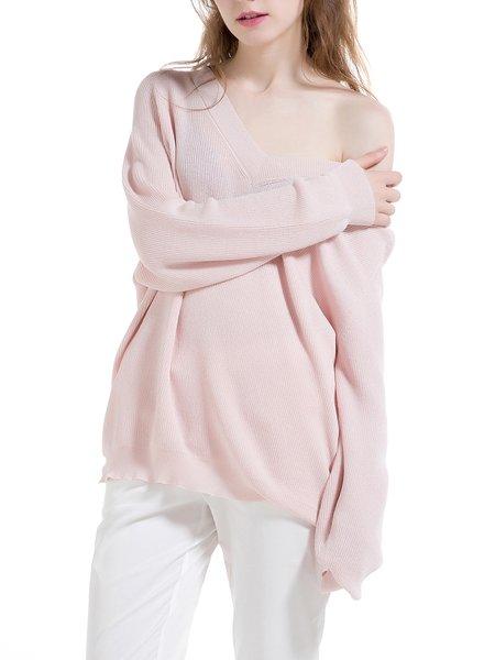 Pink Raglan Sleeve V Neck Knitted Plain Sweater