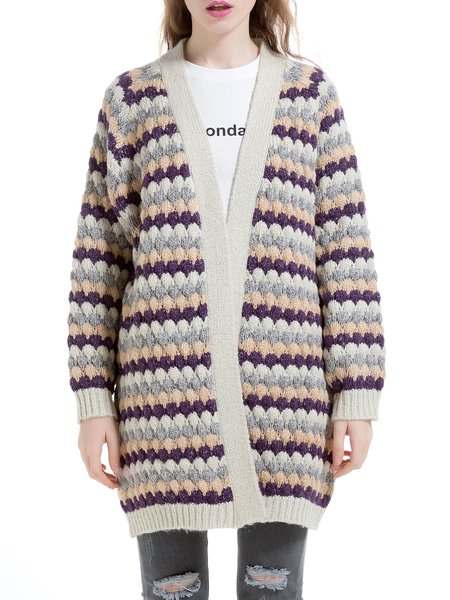 Purple Raglan Sleeve Wool Blend Stripes Knitted Cardigan