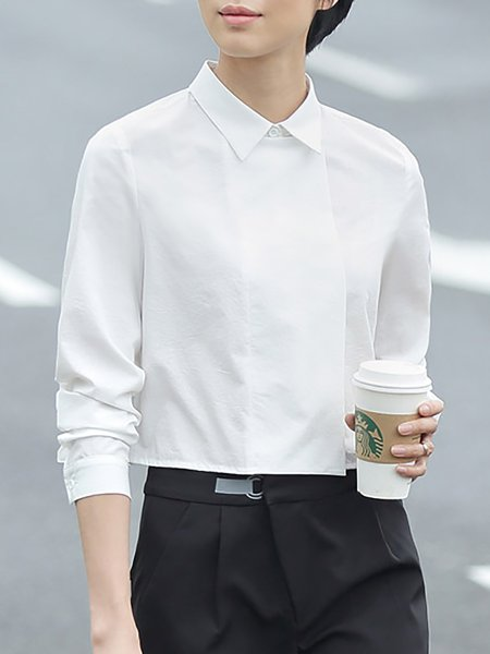 White Plain Long Sleeve Crop Top