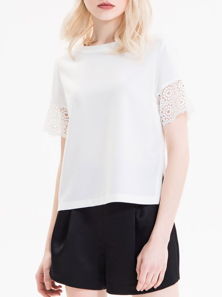 White Simple Crew Neck Casual Top