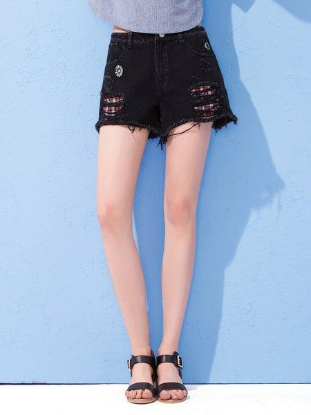 Black Casual Plain Pant