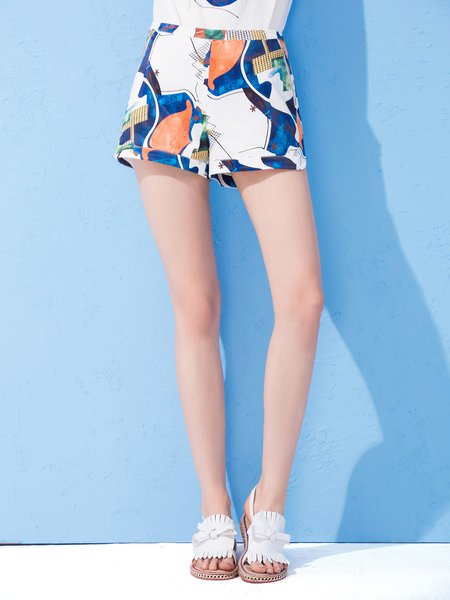 Multicolor Abstract Printed Polyester Casual Pant