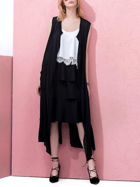Sleeveless Simple Asymmetrical Outerwear
