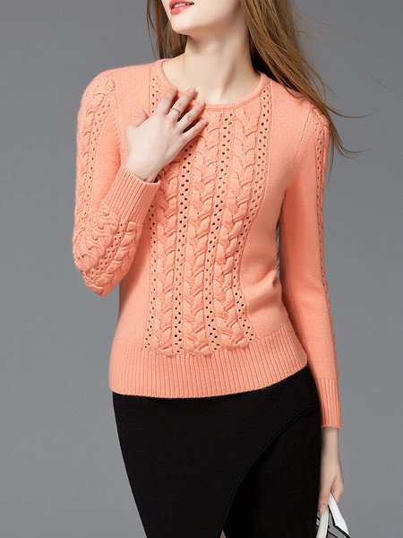 Orange Solid Basic Knitted Sweater