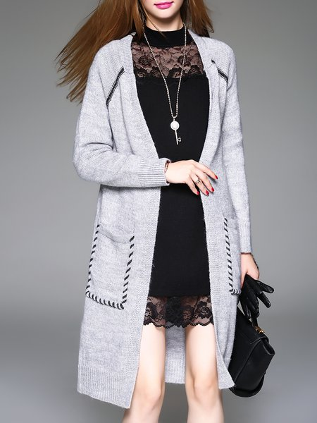 Solid Pockets Knitted Long Sleeve Cardigan