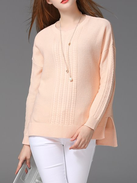 Slit Solid Long Sleeve Crew Neck Sweater