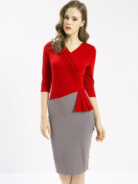 Red Sheath 3/4 Sleeve Red Dress
