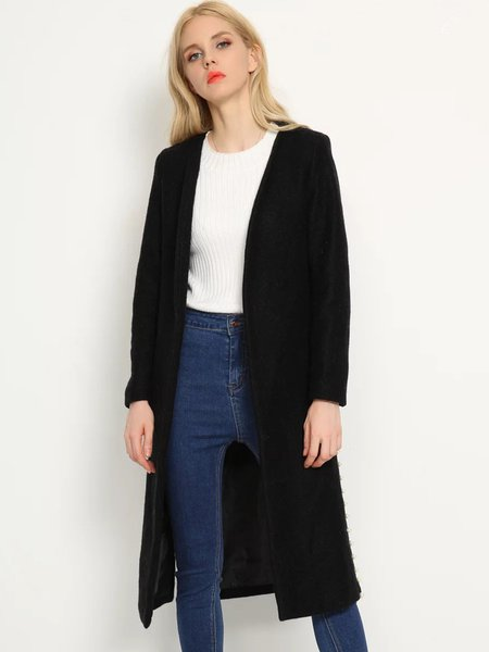 Black Beaded Side Solid Simple Coat