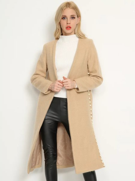 Beaded H-line Long Sleeve Simple Coat