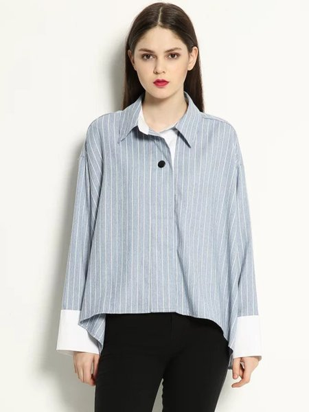 Stripes Color-block Shift Boyfriend Blouse