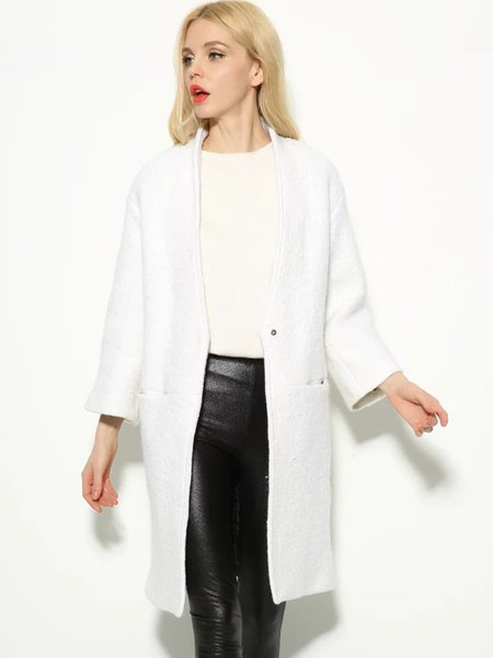 Pockets V Neck Casual Solid Long Sleeve Coat