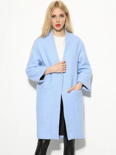 Blue Long Sleeve Pockets H-line Cotton Coat