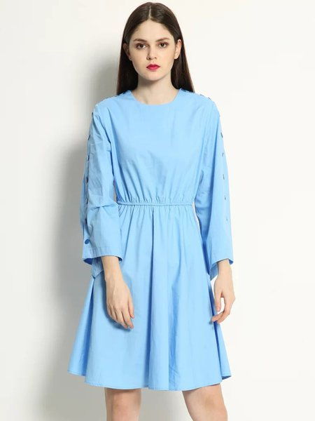 Buttoned Asymmetric Sleeve Solid Dress
