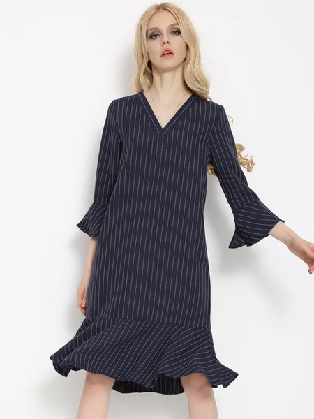 Navy Blue Flared Sleeve V Neck Stripes Flounce Dress