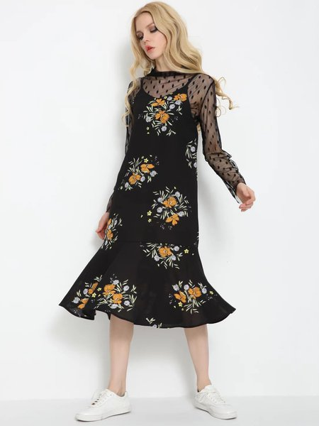 Black Floral-print Flounce Two Piece Dress