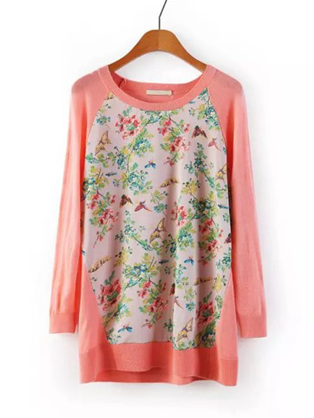 Pink Floral Butterflies Printed Sweater