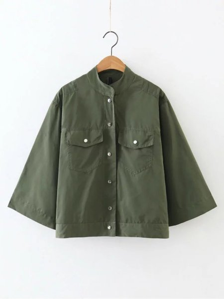 Buttoned Casual Pockets Shift Jacket