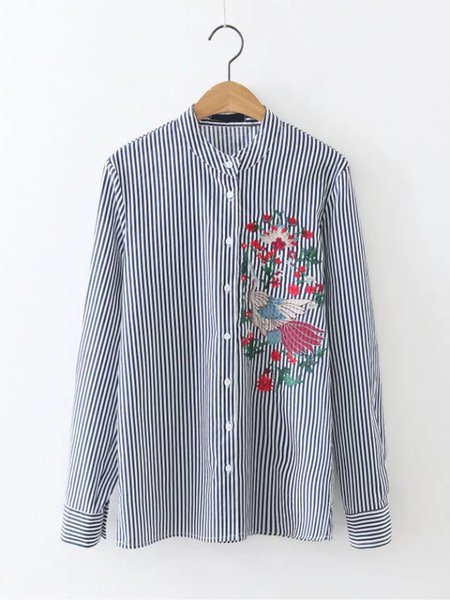 BlueEmbroidered Stripes Stand Collar Shirt