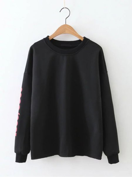 Black Letter Printed Casual Cotton Crew Neck Sweatshirt