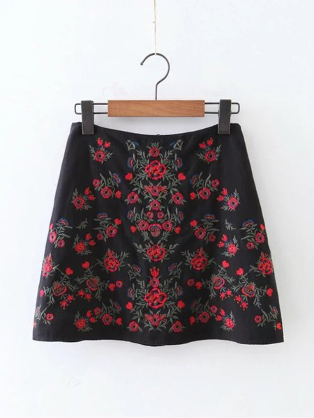 Black Flaral Cotton Embroidered Casual Skirt