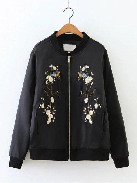 Black Cotton Floral Elegant Embroidered Bomber Jacket