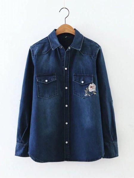 Blue Embroidered Rool Tab Sleeve Denim Jacket