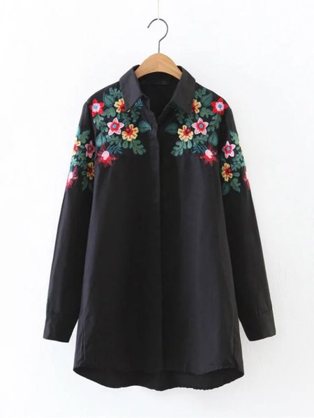 Chiffon Floral Embroidered Elegant Oversized Shirt