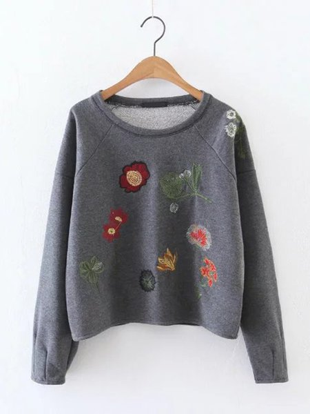 Gray Embroidered Floral Crew Neck Long Sleeve Sweatshirt