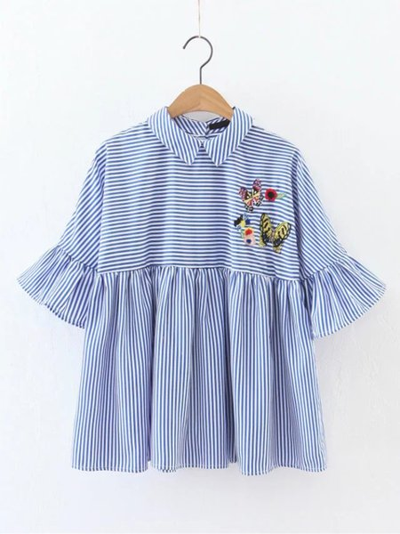 Blue Embroidered Cotton Frill Sleeve Blouse