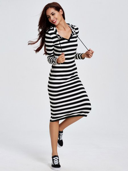 Stripes Drawcord Hoodie Sheath Dress