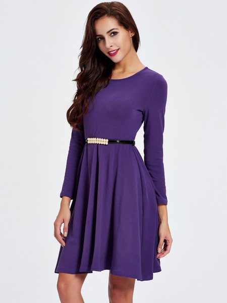 Purple Folds Crew Neck Solid Long Sleeve Dress - JustFashionNow.com