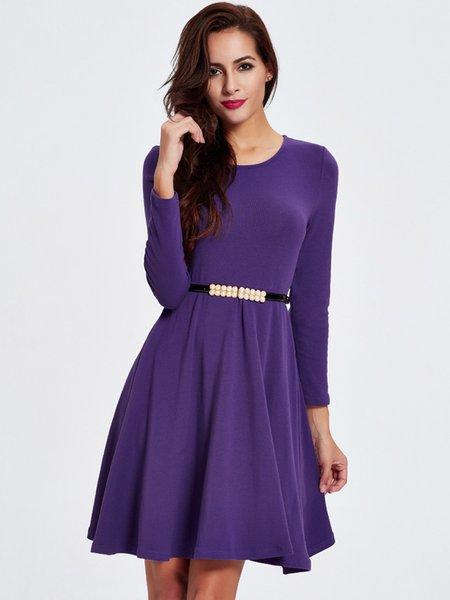 Purple Folds Crew Neck Solid Long Sleeve Dress - JustFashionNow.com