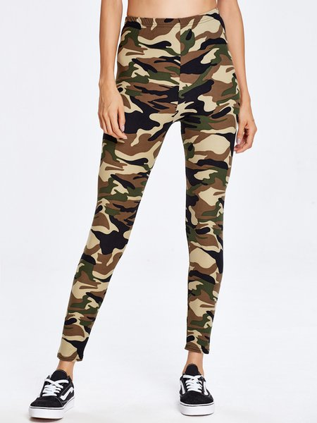 Light Green Camo Printed Leggings