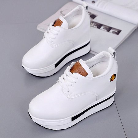 Lace-up All Season Antislip Casual Patch PU Wedge Heel Sneaker