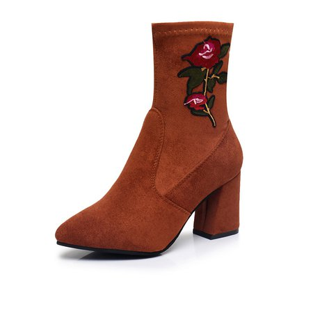 Flower Embroidered Suede Slip On Chunky Heel Boots