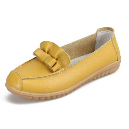 Split Leather Flat Heel Casual Bowknot Loafers