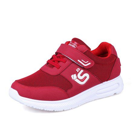 Red Casual Lace-up Cloth Magic Tape Sneakers