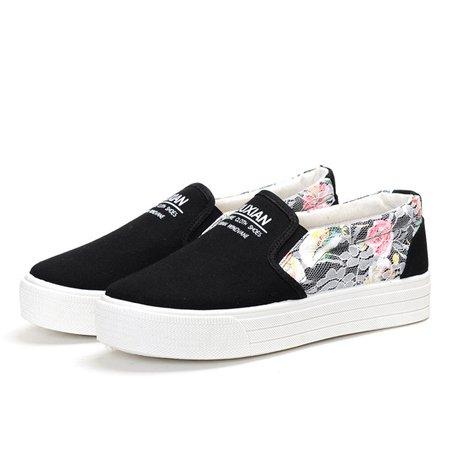 Floral Print Canvas Slip On Platform Loafers