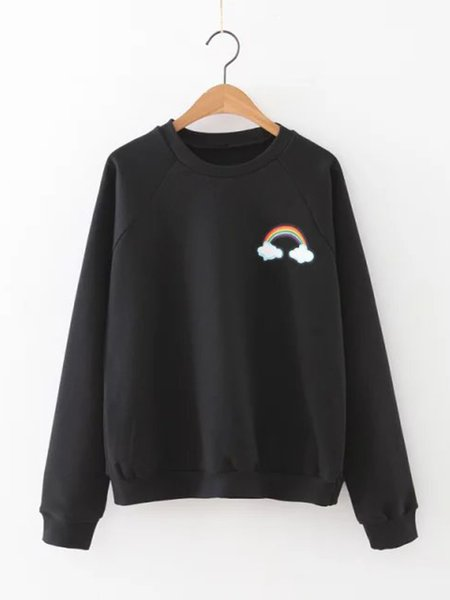 Black Rainbow Printed Crew Neck Long Sleeve Sweatshirt