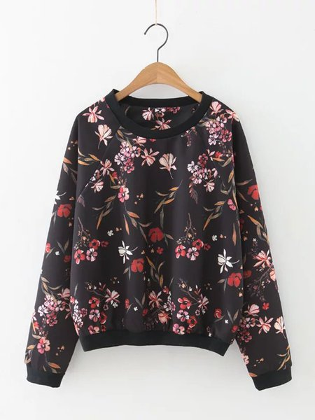 Black Floral-print Cotton-blend Basic Sweatshirt