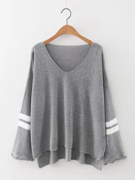 Slit Side Long Sleeve Basic V Neck Shift Sweater
