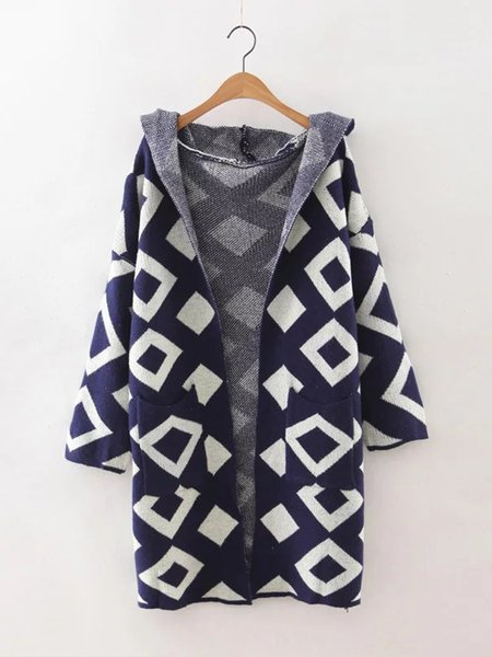 Geometric Hoodie Pockets Long Sleeve Cardigan
