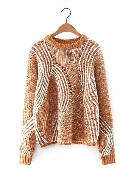 Holes Color-block Long Sleeve Knitted Sweater