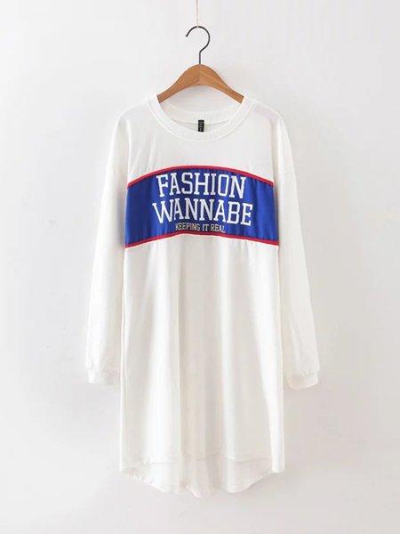 White Letter Printed H-line Long Sleeve Dress