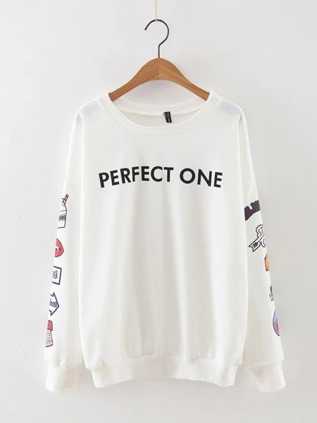 White Letter Cute Printed Sweatshirt