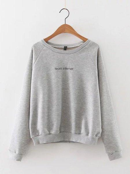 Gray Letter Cotton-blend Long Sleeve Sweatshirt