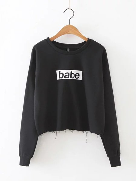 Black Letter Printed Raw Hem Cotton-blend Sweatshirt