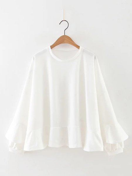 White Solid Ruffled A-line Long Sleeve Blouse