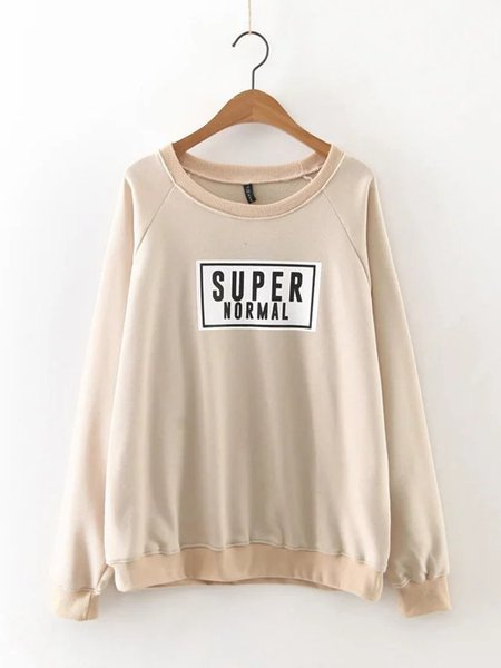 Beige Letter Long Sleeve Printed Sweatshirt